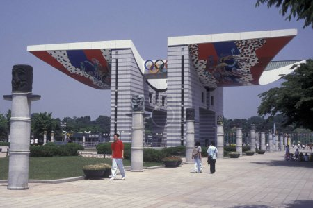 the world peace gate of the Seoul Olympic games 1988 in the Seoup olympia park in city centre of Seoul in South Korea in EastAasia.  Southkorea, Seoul, May, 2006