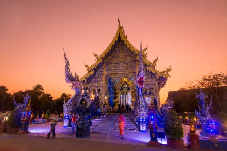 Photo for The Blue Temple or Wat Rong Suea Ten in the city of Chiang Rai in North Thailand.  Thailand, Chiang Rai, November, 2019 - Royalty Free Image