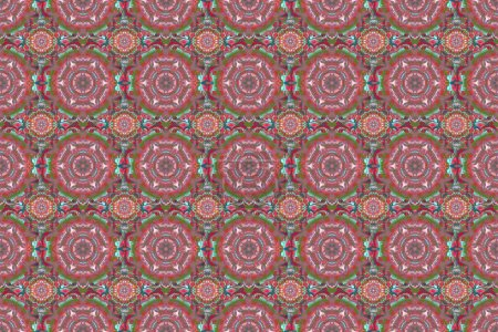 Elegant orange, blue and red seamless pattern with...