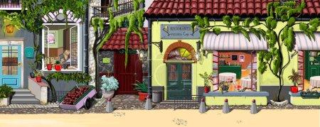 Photo pour Peinture à l'huile. Façade peinte. Belles, lumineuses, petites maisons de Paris et de Roumanie . - image libre de droit