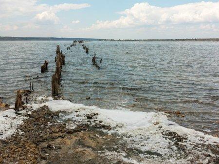 Salty estuary Kuyalnik, dead lake near Odessa, Ukraine. Wooden sticks reflected in blue water at sunny weather.