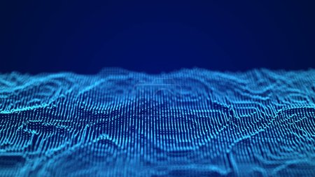 Photo pour Abstract digital background. Science background. Tech background. Matrix. Binary Code. 3d rendering. Blue dots. Abstract tracery - image libre de droit