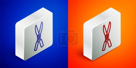 Illustration for Isometric line Gardening handmade scissors for trimming icon isolated on blue and orange background. Pruning shears with wooden handles. Silver square button. Vector Illustration. - Royalty Free Image