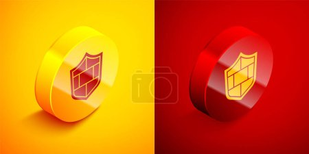 Illustration for Isometric Shield with cyber security brick wall icon isolated on orange and red background. Data protection symbol. Firewall. Network protection. Circle button. Vector. - Royalty Free Image