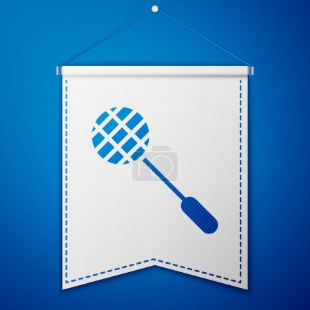 Photo for Blue Tennis racket icon isolated on blue background. Sport equipment. White pennant template. Vector Illustration. - Royalty Free Image