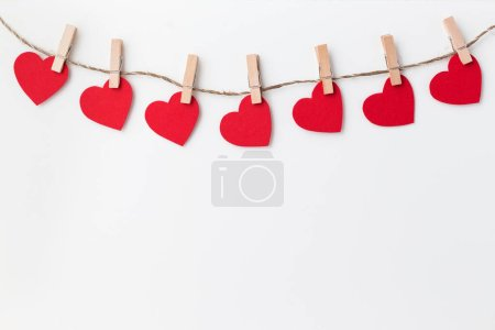 Photo for Red hearts on white background - Royalty Free Image
