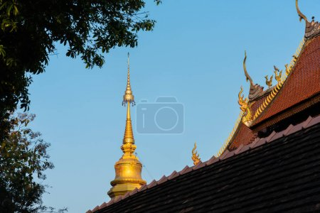 Photo for Wat Ubosot , Old temple made from wood know as landmark of city located in Mae Hia, Chiang Mai Thailand. - Royalty Free Image