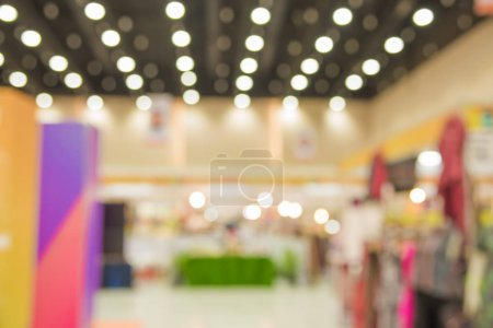 Photo for Blur image of booth at the fair in the wide and modern hall for background. - Royalty Free Image