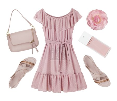 Pink summer dress, shoes and accessories collage isolated on white