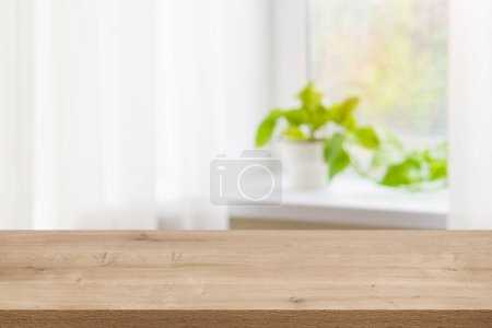 Photo for Wood texture table on defocused summer window sill background. - Royalty Free Image