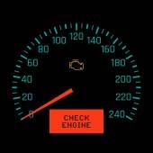 Check engine light on speedometer display Vector illustration