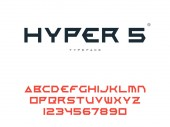 Vector latin uppercase alphabet letters and numbers Abstract futuristic space font