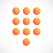 Set of round number icons Vector illustration