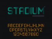 Vector linear uppercase font Latin alphabet letters and numbers