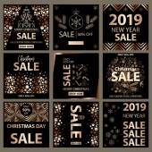 End of Season Sale Banner Poster Flyer Vector Clearance on-line shopping Discount Set of 2019 Happy New Year Templates with black gold colors Design for invitation banners ads coupons
