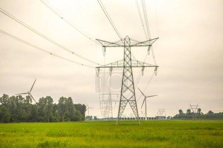 Photo pour Lignes électriques sur le terrain - image libre de droit