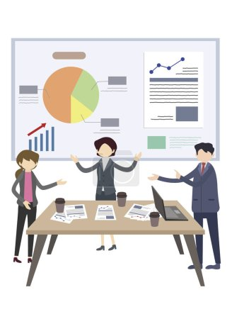 Photo for Business people working in office, illustration - Royalty Free Image