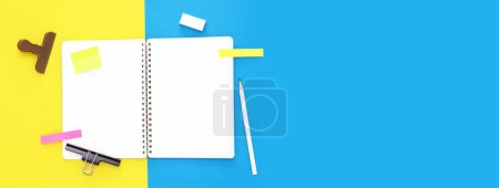 Photo for Office desk with notepad and pen - Royalty Free Image