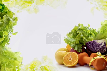 Photo for Fresh fruits, vegetables, weights and measuring tape on white background. - Royalty Free Image