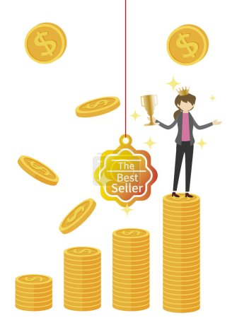 Photo for Businesswoman with coins and money, illustration - Royalty Free Image