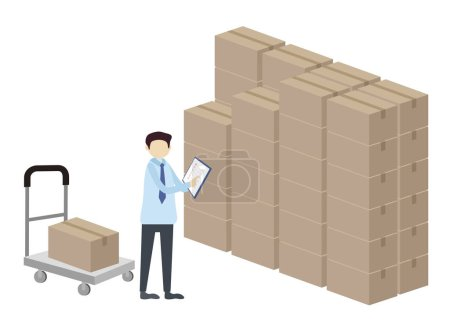 Photo for Delivery concept design, illustration of man with packages - Royalty Free Image