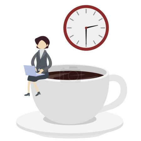Photo for Illustration of a businesswoman with laptop sitting on cup of coffee - Royalty Free Image