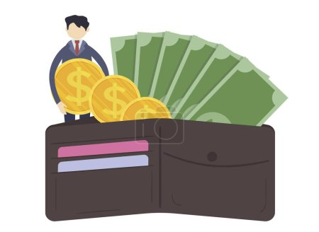 Photo for Businessman with purse and money, illustration design - Royalty Free Image