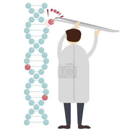 Photo for Illustration of male scientist working with dna molecule - Royalty Free Image