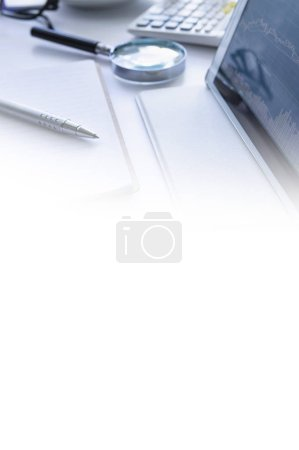 Photo for Workplace and pen on white background - Royalty Free Image