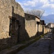 Street in the once buried Roman city of Pompeii so...