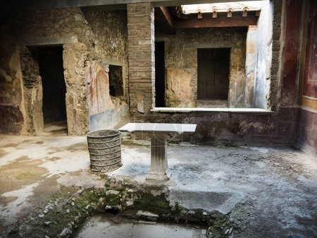 Interior of villa in the once buried Roman city of...