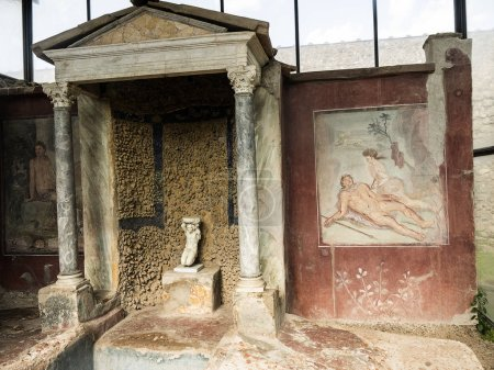 Frescoes in one of the villas in the once buried R...