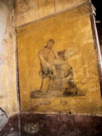 Wall painting in the once buried Roman city of Pom...