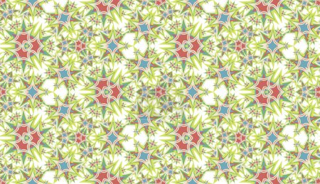 Illustration for Abstract seamless pattern, background. Colorful kaleidoscope on white. Useful as design element for texture and artistic compositions. - Royalty Free Image