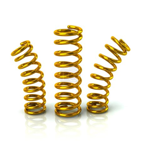Golden bended springs 3d illustration on white background