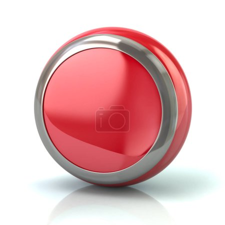 Round red button with metal border 3d illustration on white background