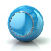 Blue button with metal border 3d illustration on white background