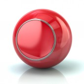Red button with metal borde 3d illustration on white background