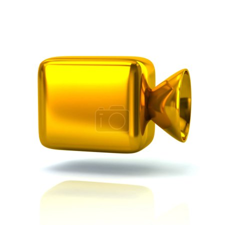Golden cinema camera icon 3d illustration on white background