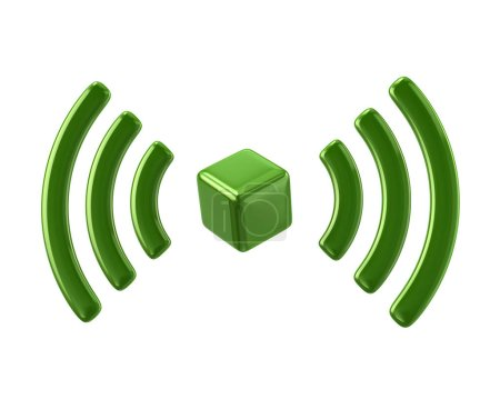 Photo for Green Wi-Fi network icon 3d illustration on white background - Royalty Free Image