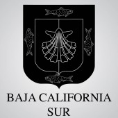 Silhouette of Baja California Sur Coat of Arms Mexican State Vector illustration