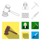 Judge wooden hammer barbed wire pickaxe Prison set collection icons in outlineflat style vector symbol stock illustration web