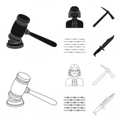Judge wooden hammer barbed wire pickaxe Prison set collection icons in blackoutline style vector symbol stock illustration web