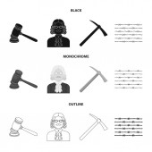 Judge wooden hammer barbed wire pickaxe Prison set collection icons in blackmonochromeoutline style vector symbol stock illustration web