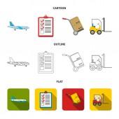 Cargo plane cart for transportation boxes forklift documentsLogisticset collection icons in cartoonoutlineflat style vector symbol stock illustration web