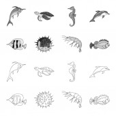 Shrimp fish hedgehog and other speciesSea animals set collection icons in outlinemonochrome style vector symbol stock illustration web