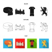 Cheese lion and other symbols of the countryBelgium set collection icons in blackflatoutline style vector symbol stock illustration web
