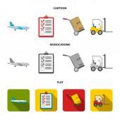 Cargo plane cart for transportation boxes forklift documentsLogisticset collection icons in cartoonflatmonochrome style vector symbol stock illustration web