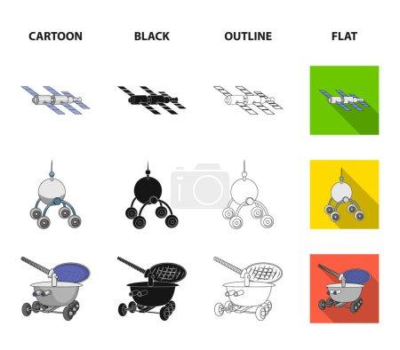 Ilustración de Radar de radio, en la nave espacial, Lunokhod. Tecnología espacial establece los iconos de la colección de dibujos animados, negro, contorno, Ilustración stock de símbolo de vector de estilo plano. - Imagen libre de derechos