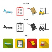 Cargo plane cart for transportation boxes forklift documentsLogisticset collection icons in cartoonblackflat style vector symbol stock illustration web